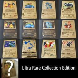 Покемон игра Аниме Боевая карта золотая металлическая карточка Charizard Пикачу коллекция карты экшн фигурка Модель Детская игрушка подарок