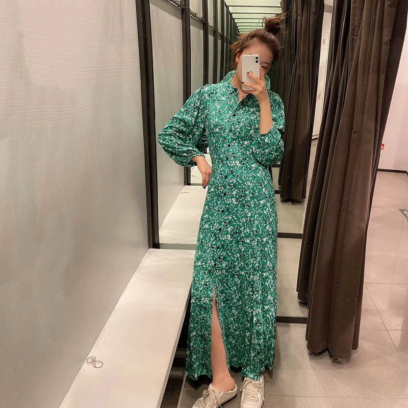 ZA 2020 Summer  Casual Turn-down Collar Maxi Dress Women  Floral Print Long Dress Ladies Vintage Sexy Party Dress Robe Femme