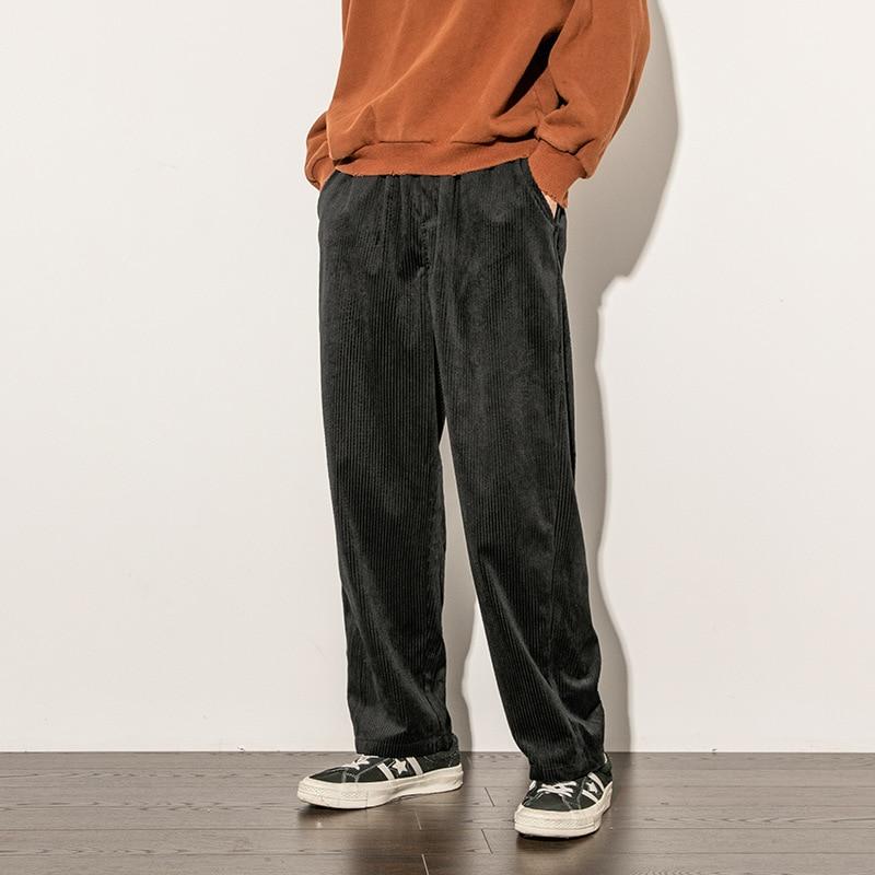 Men Vintage Fashion Corduroy Loose Casual Straight Wide Leg Pant Male Women Japan Harajuku Streetwear Hip Hop Harem Trousers
