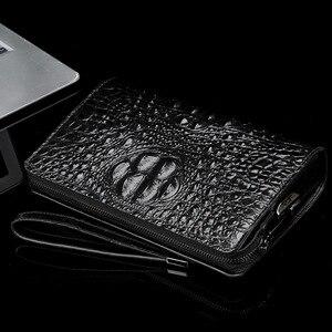Image 5 - メンズ財布革本物のワニ男のクラッチバッグデザイナービジネス男性電話財布牛革carterasやつbilleteras
