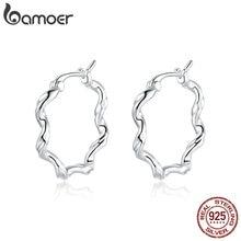 bamoer 925 Sterling SilverLittle Wave Earrings Earrings for Women 6mm Hypoallergenic Silver Jewelry for Kids earring SCE976