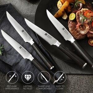 """Image 5 - XINZUO 1/4pcs zestaw noży do steków niemcy 1.4116 stal nierdzewna 5 """"calowy nóż kuchenny uniwersalny nóż z uchwytem Pakkawood"""