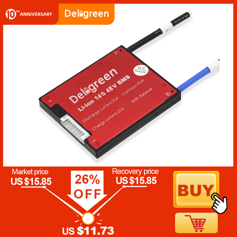 Deligreen 48V BMS 14S 15A 20A 30A 40A 50A 60A 48V PCB For 3.7V Lithium Battery Pack 18650 Li-ion LiNCM Scooter