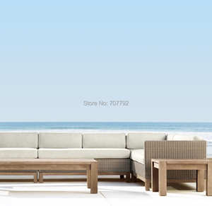 High end teak outdoor sectional sofas love seats wooden patio garden set furniture