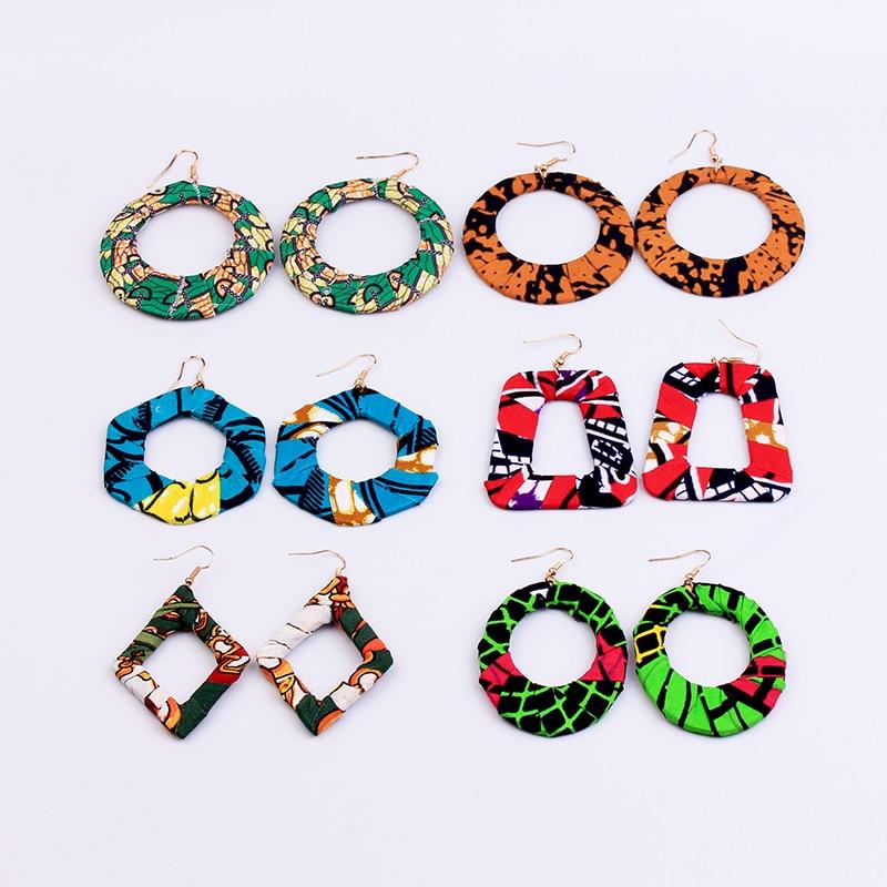 Fabric Covered Wooden Earring Statement Bohemian Geometric Rhombus Party Dangle Jewelry Dangle African Hoop Earrings For Women