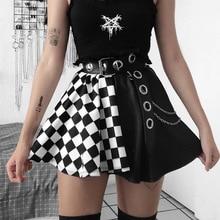 ZOGAA Punk Skirt Gothic Plaid A Line Mini Skirts Harajuku Streetwear Sexy Plaid Patchwork Skirt  Club Wear 2021 Summer