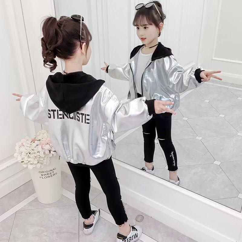 Детская Спортивная кожаная куртка, осеннее пальто с капюшоном для девочек, светоотражающая Серебристая верхняя одежда с длинными рукавами, дышащая полиэфирная ветровка для девочек Куртки и пальто    АлиЭкспресс