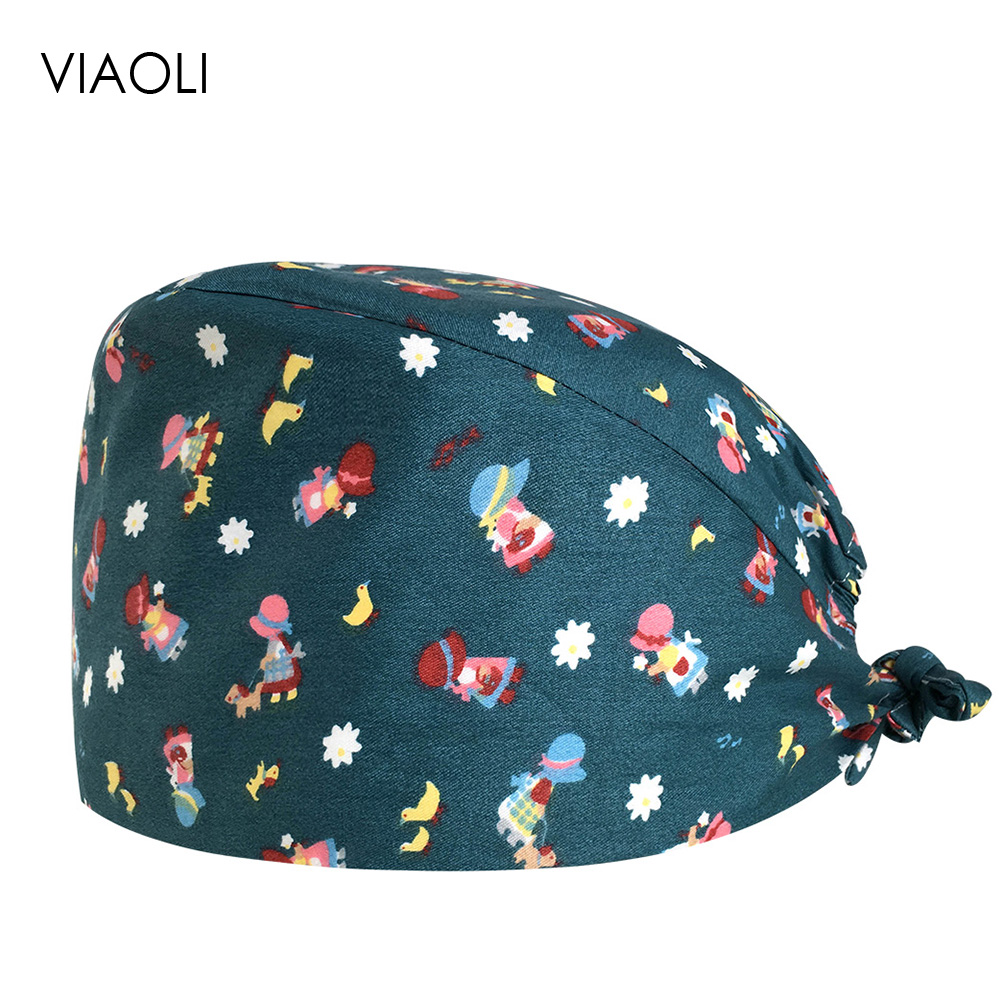 VIAOLI Print Black Tieback Elastic Section 100% Cotton Surgical Caps Scrub Caps For Men Women Hospital Medical Hats Arrival 081