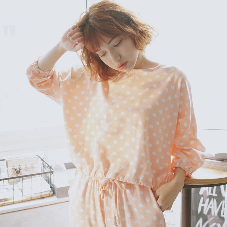 Pajamas Women's Spring And Autumn Less WOMEN'S Long Sleeve Cute Tracksuit Summer WOMEN'S Dress Knitted Cotton Thin Loose-Fit Set