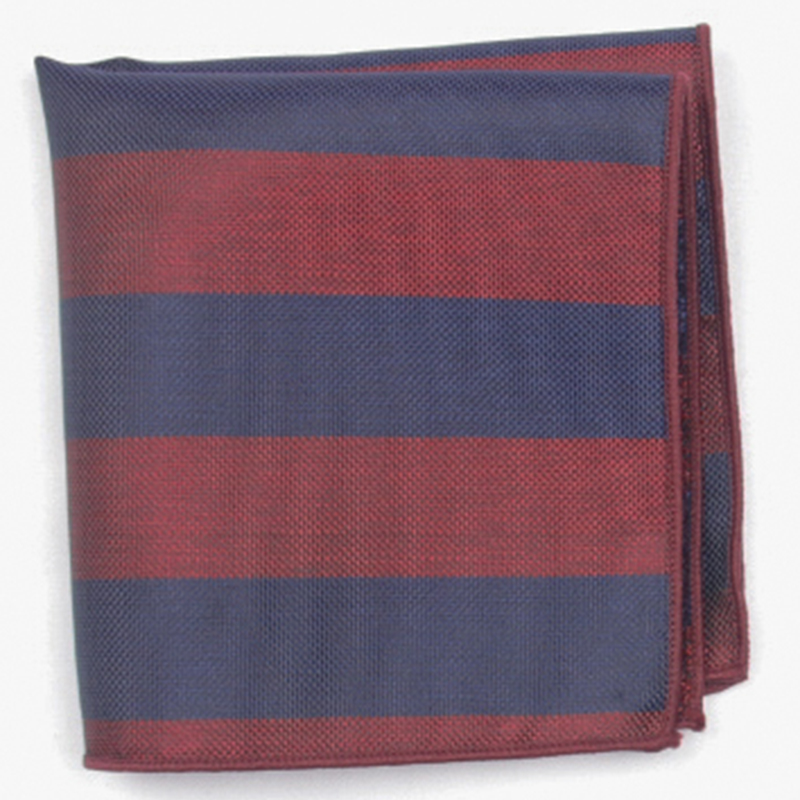Dark Red With Blue Stripe Patterned Pocket Square With Patterns Handkerchief