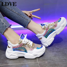 2019 New Women Shoes Spring Sneakers Fashion Bling Platform Ladies Footwear Breathable Mesh
