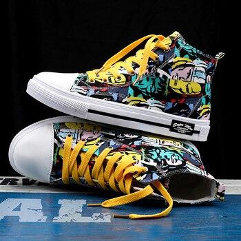 Zapatillas de deporte clásicas para hombre, zapatos de skateboard para parejas, transpirables, con cordones, informales, a la moda, con grafiti 1