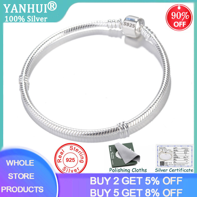 With Certificate 100% Original 925 Silver DIY Bead Charm Bracelet Bangle For Women Gift Snake Chain Bracelets Fine Jewelry HB925
