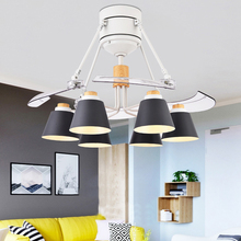 Invisible Mute Ceiling Fan Lamp 48-inch Modern E27 Fashion ABS fan-leaf Creative Livingroom dining room Bedroom Decoration lamps