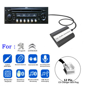 DOXINGYE USB AUX Bluetooth Car Radio Digital CD Changer Adapter Car MP3 Player Handsfree For RD4 Peugeot CITROEN 12PIN Interface
