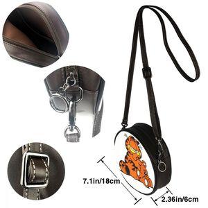 Image 4 - Garfield bolsa de ombro garfield 4 bolsa de couro mini impressão feminina sacos multi purpose adolescente crossbody mulher trending bolsa redonda