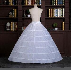 Image 5 - JaneVini كبير الكرة ثوب تنورات تحتية طويلة 6 الأطواق الزفاف الأبيض Quinceanera اللباس قماش قطني Underskirts لانج Onderrok
