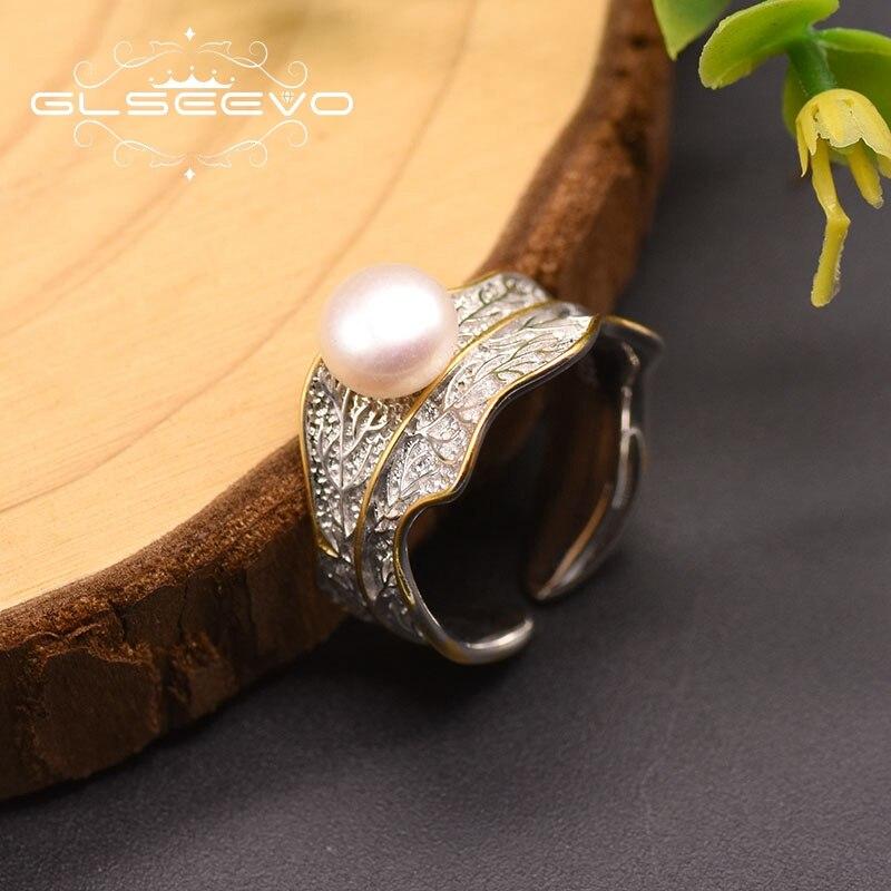 GLSEEVO Fresh Water Pearl  925 Silver Leaf Shape Ring For Women Girl Lovers' Minimalist Vintage Wedding Party Jewellery GR0256