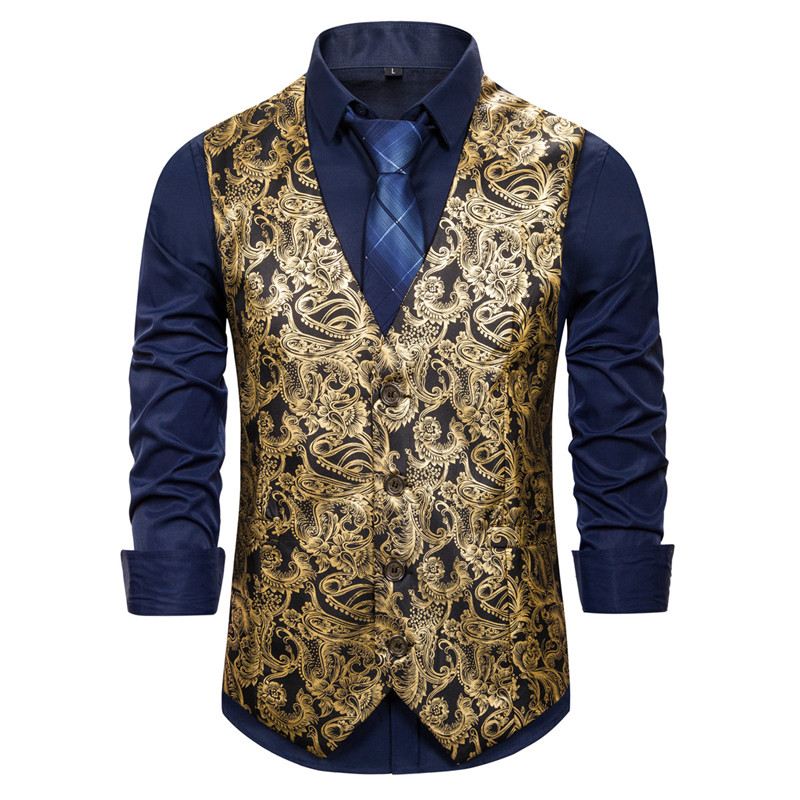 Mens Fashion Business Casual Gold Stamping Printing Waistcoat Tops Vest