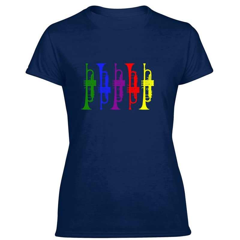 Baskı trompet pirinç aleti Cornet caz müzisyen hediye erkek tişört O boyun Tee gömlek erkekler için kısa kollu Unisex üst Tee