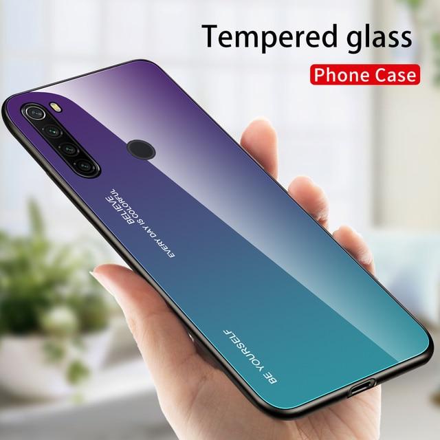 Mirror Gradient Tempered Glass Case For Xiaomi Redmi Note 8 8T 7 6Pro 7A 8A K20 Pro Protective Glass Cover For Redmi Note 9 Pro