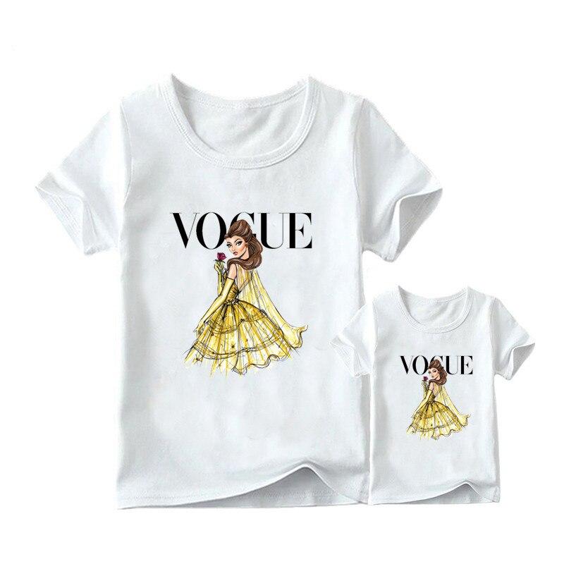 1 предмет, г. Летняя футболка с принтом принцессы в стиле панк модная одежда для мамы и дочки забавная семейная футболка с короткими рукавами - Цвет: 4