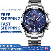 WISHDOIT-reloj deportivo de lujo para hombre, cronógrafo informal de cuarzo, luminoso, resistente al agua, de pulsera, de acero inoxidable