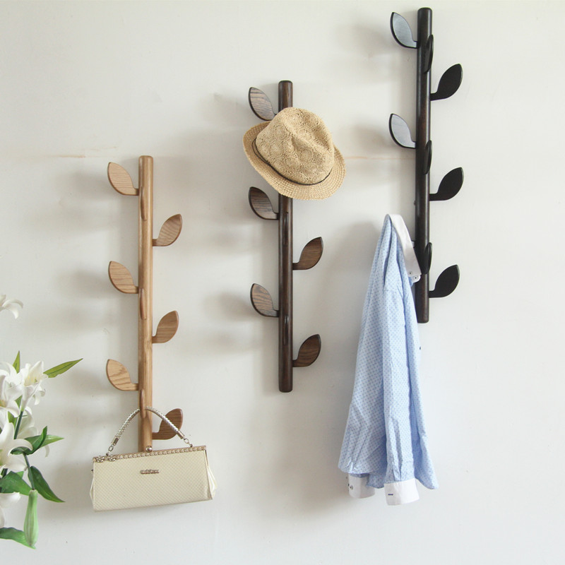 White Oak Hat Rack Creative Leaf Wall Hanging Solid Wood Hangers On Bedroom Walls Clothes Rack Coat Stand Purse Stand Furniture