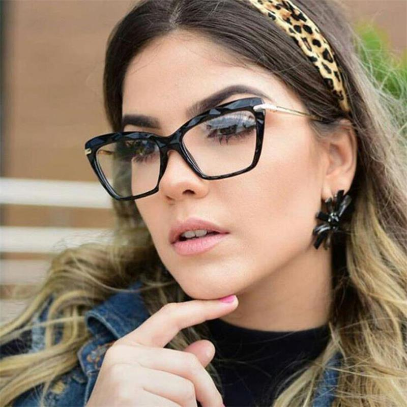 Fashion Retro Plastic Cat Eye Women Glasses Frame Optical Clear Lens Glasses Men Eyeglasses Frames Oculos De  Feminino 1