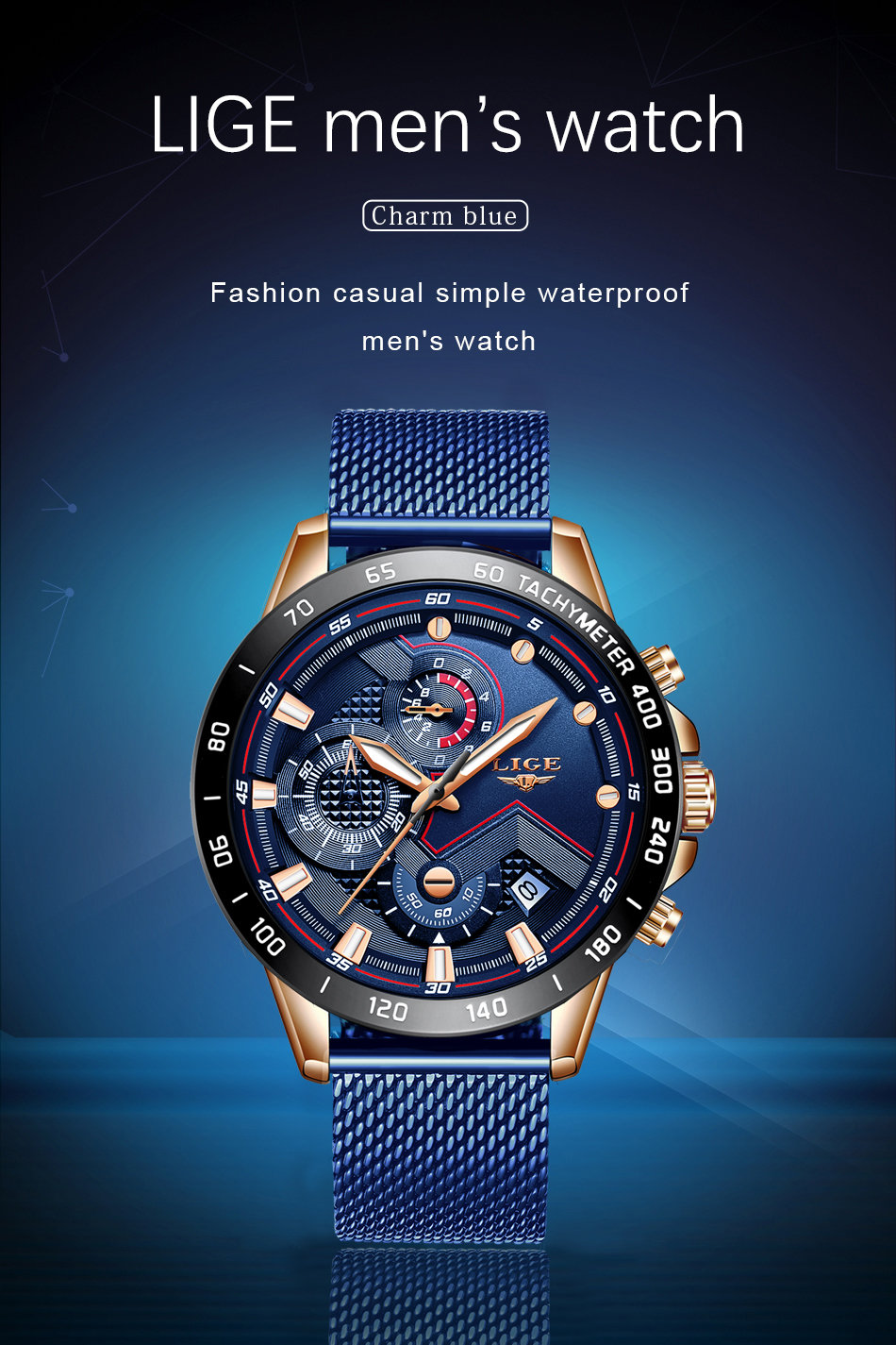H7d0e18abf0c046bf932b4e03354c63f95 LIGE Men Watches Top Brand Luxury Stainless Steel Blue Waterproof Quartz Watch Men Fashion Chronograph Male Sport Military Watch