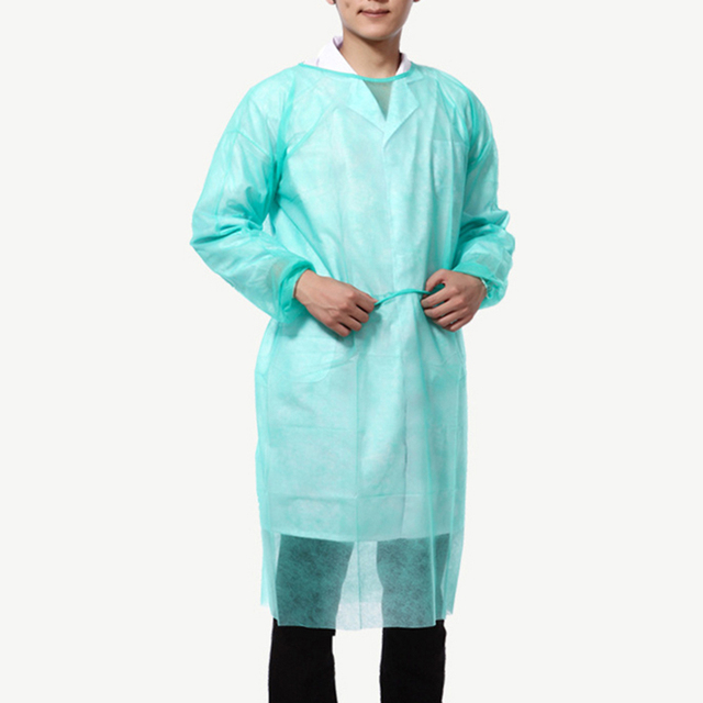 10PCS Portable Non-woven Security Protection Suit Comfortable Disposable Cover Up Isolation PPE Gown for Factory Laboratory 3