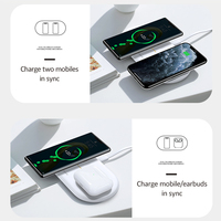 USAMS Dual Coil Wireless Charger Pad for Mobile Phones and Earbuds for iPhone 11 / 12 XS XR X 8 AirPods Pro 10W Dual Fast Charging