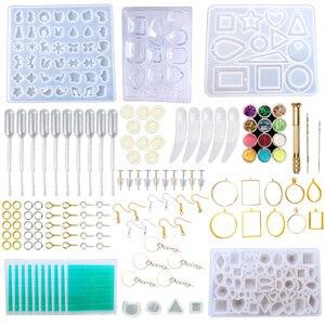 Наборы из силиконовой смолы, набор инструментов для литья ювелирных изделий, формы для ювелирных изделий, серьги-гвоздики, шпильки для винт...