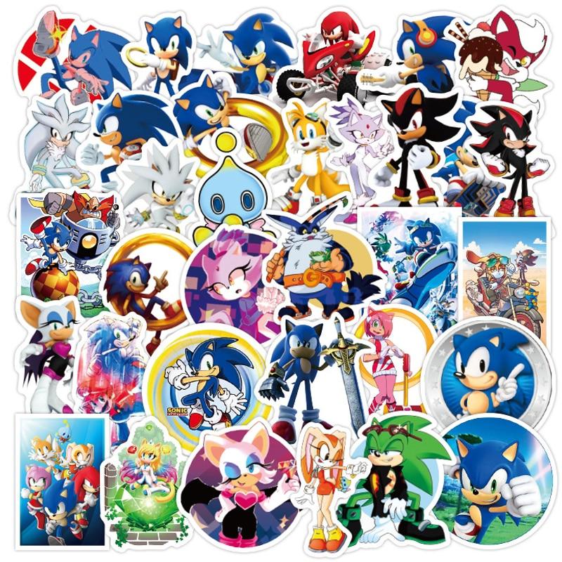 50 pièces Anime Sonic le hérisson jeu autocollants bricolage Skateboard téléphone guitare valise vélo ordinateur portable étanche autocollant enfant classique jouet