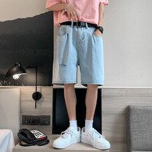 2021 Summer Men's Ripped Jeans Shorts Casual Knee-length Denim Washed Classic Blue Yong Bottoms Korean Style Streetwear Clothing