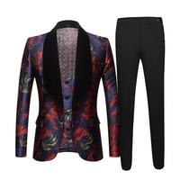 Men's jacquard Black collar Suit Men Slim Fit Single Button 3 Piece SuitMen Wedding Groom Tuxedo Suits Costumes