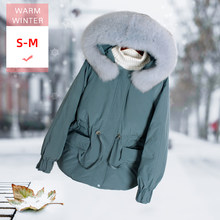 New Fashion Women Real Fox Fur Short White Duck Down Coat Female Slim Thick Warm Casual Coat Windproof Big Size Good Quanlity(China)