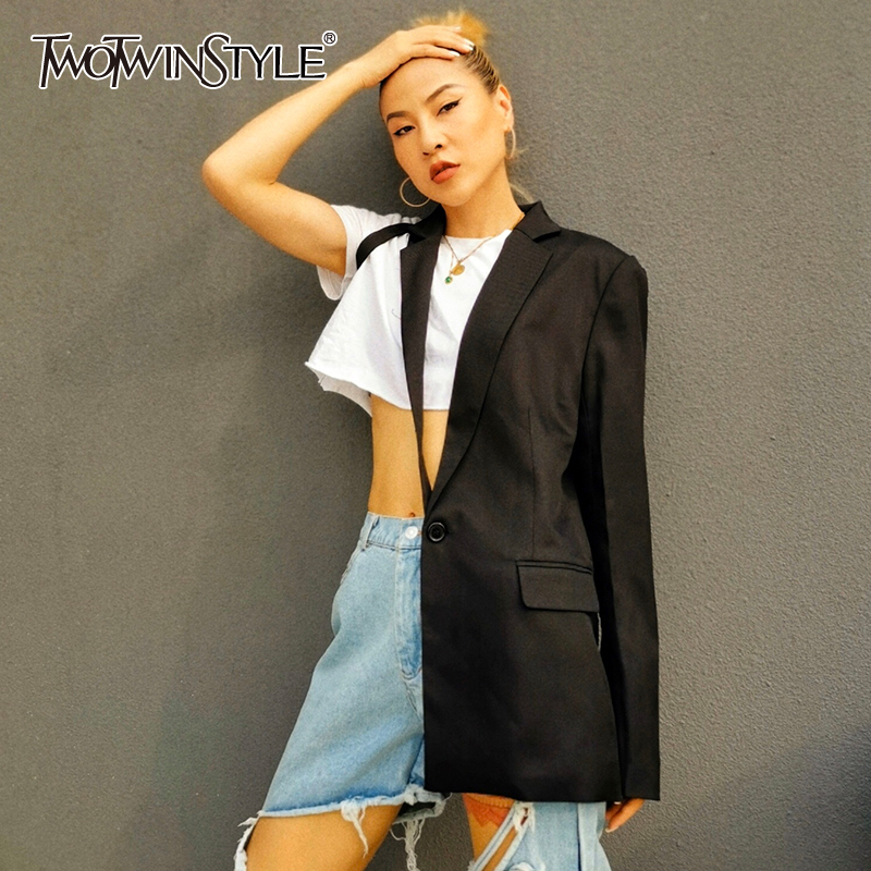 TWOTWINSTYLE Asymmetrical One Shoulder Women's Blazer Notched Long Sleeve Pocket Elegant Suit Female 2020 Spring Fashion New