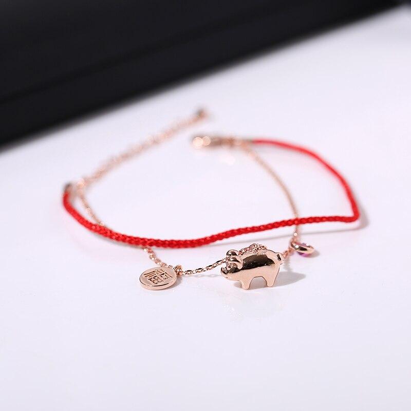 Браслет YUN RUO из розового золота с изображением поросенка удачи и красной линией, Модный женский подарок 316 л, ювелирные изделия из титановой ...