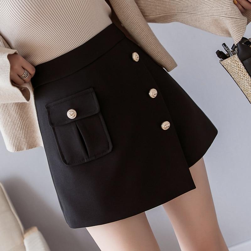 2020 Spring Summer New Women Shorts Skirts Korean Fashion Single Breasted High Waist Shorts Female Black Pocket Casual Shorts