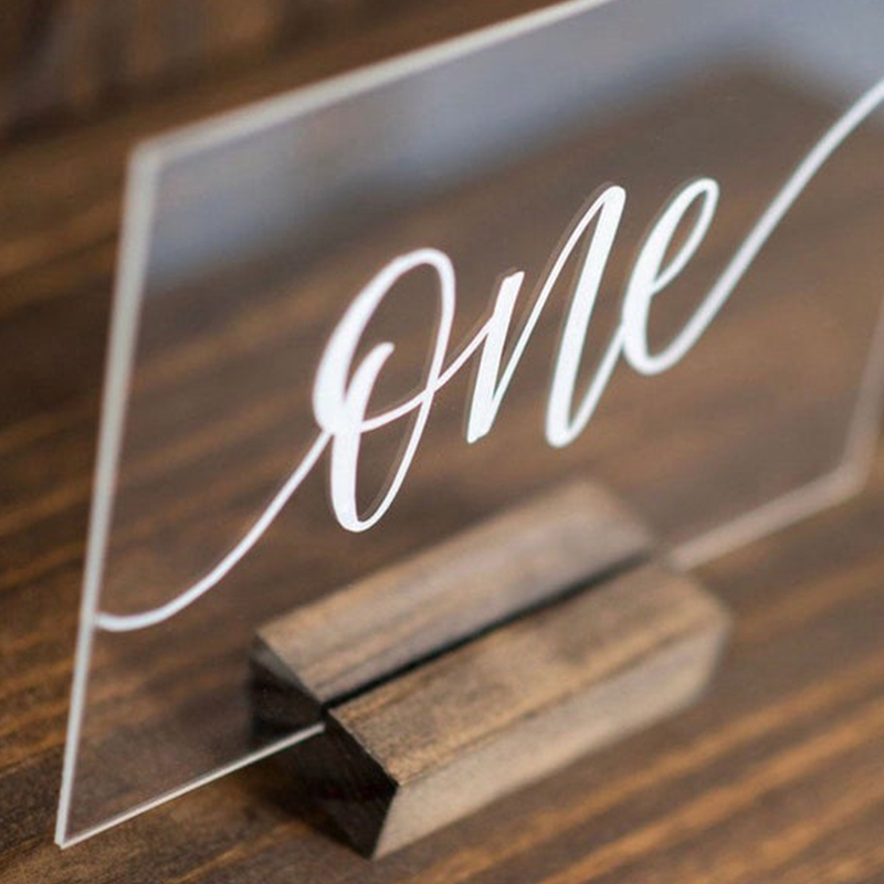 Acrylic Calligraphy Wedding Table Numbers With Wood Holder Set Personalized Number Sign Modern Wedding Table Number for Party