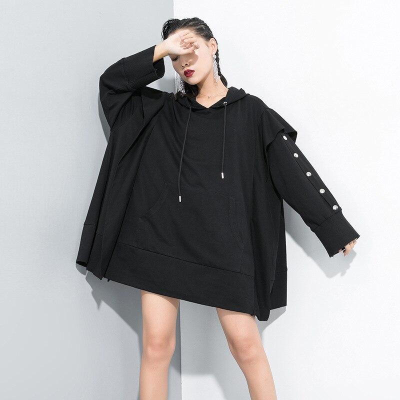 LANMREM 2019 automne et hiver nouveaux produits mode solide couleur couture métal décoratif pull sweat femmes PB256