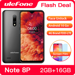 Перейти на Алиэкспресс и купить ulefone note 8p smartphone android 10 go 2gb+16gb quad core 5.5 inch triple camera 4g cell phone mobile phone android