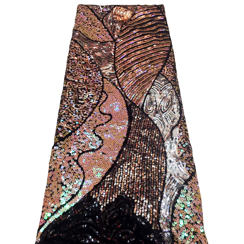 2020 Fashionable High Quality African Lace Fabric With Beautiful Sequins Nigeria French Seqins Fabric For Women Evening Dress