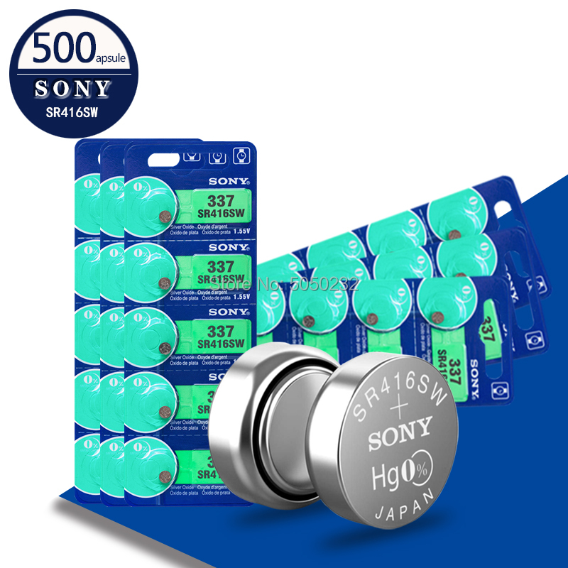 500PCS/LOT Sony 100% Original 337 SR416SW 1.55V Silver Oxide Watch Battery SR416SW 337 Button Coin Cell MADE IN JAPAN
