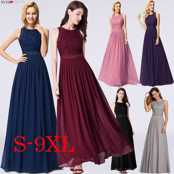 Long Evening Dresses 2020 Ever Pretty Elegant Beading A Line Pleated Chiffon Lace Formal Dress Party Gown EP07391 robe de soiree 2