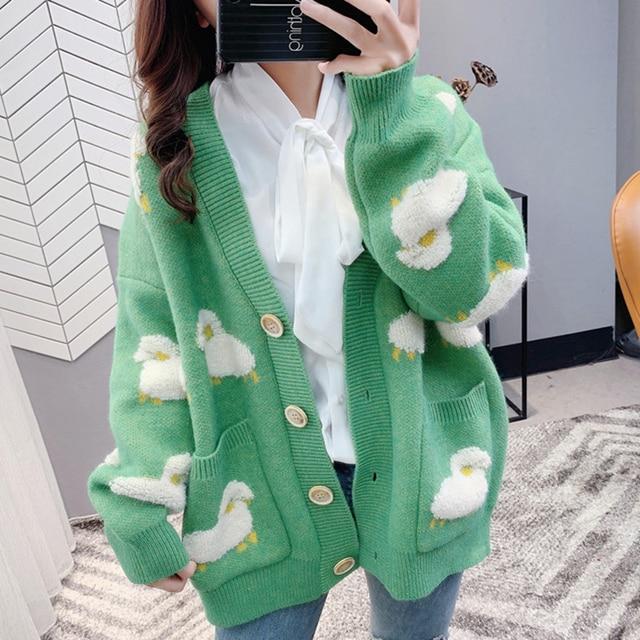 Autumn Winter Knitted Female Cardigan Loose Streetwear Knit Sweater Coat Cute Cartoon Print V Neck knitted cardigan Women Jacket 4
