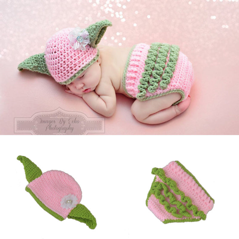Handmade Baby Girl Photography Props Newborn Knitted Hat + Pants Star Wars Yoda Costume Outfit