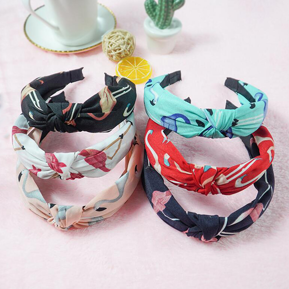 Knot Cross Tie Women Hair Hoop Knitted Hairbands Flamingo Printing Girls Bow Hair Accessories Velvet Twist Headband DST01
