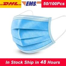 50 pièces masques de Protection masque facial Anti poussière masques jetables fondu soufflé 3 couches Protection respirateur masque Anti poussière